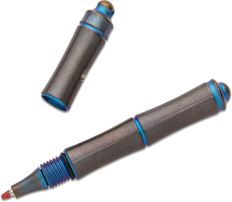 We Knife Company TP-04A Syrinx Screw Cap Pen, Blue Titanium