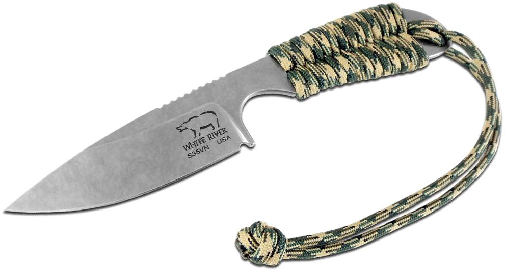 White River Knives M1 Backpacker Fixed 3.25 inch S35VN Stonewashed Blade, Camo Paracord Handle, Kydex Sheath