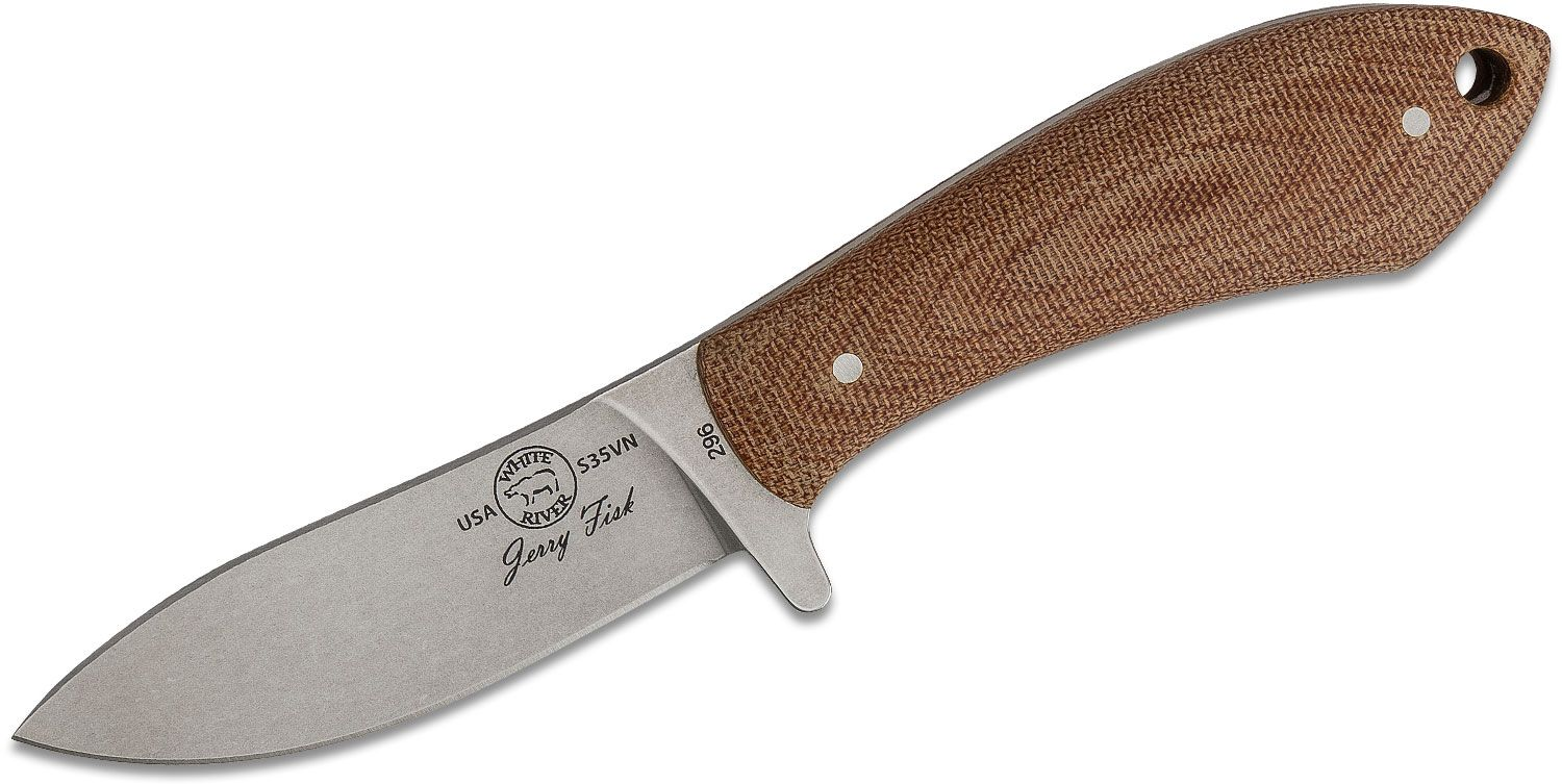 White River Knives Jerry Fisk Sendero Pack Knife 3.25 inch S35VN Stonewashed Blade, Natural Canvas Micarta Handles, Kydex Sheath