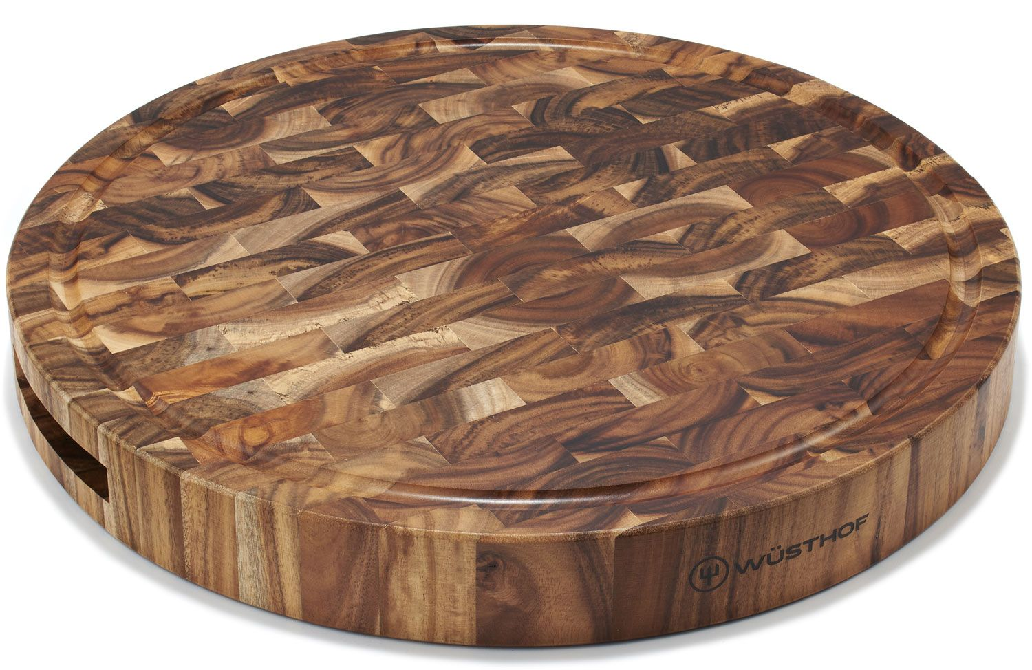 Wusthof Round Acacia End-Grain Chopping Block / Cutting Board 15 inch dia x 1.75 inch