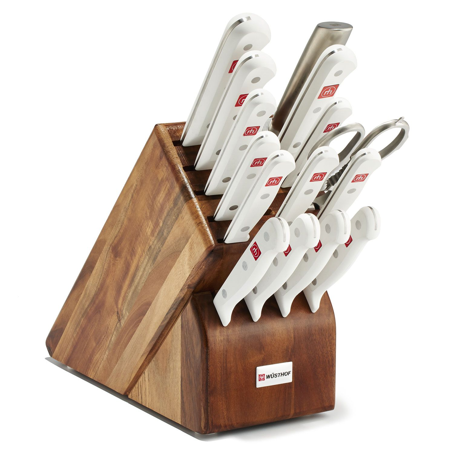 Wusthof Gourmet White 16 Piece Block Set, Acacia Wood Block