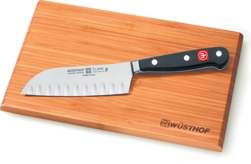 Wusthof Classic 5 inch Santoku Knife, Hollow Edge with Cutting Board