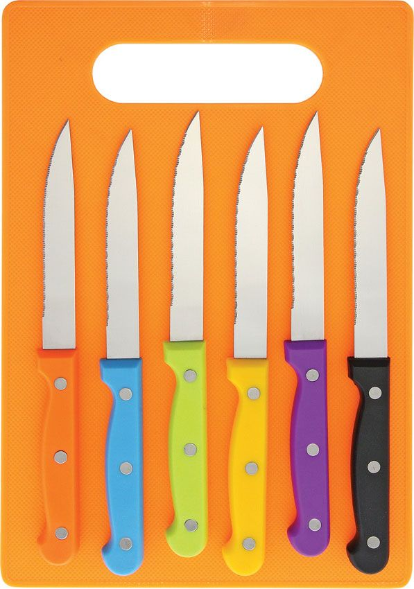 6 Piece Serrated Steak Knife Set in Assorted Colors with Orange Cutting Board
