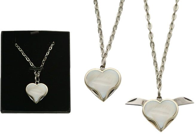 Simulated Mother of Pearl Heart Necklace with Two Tiny Blades