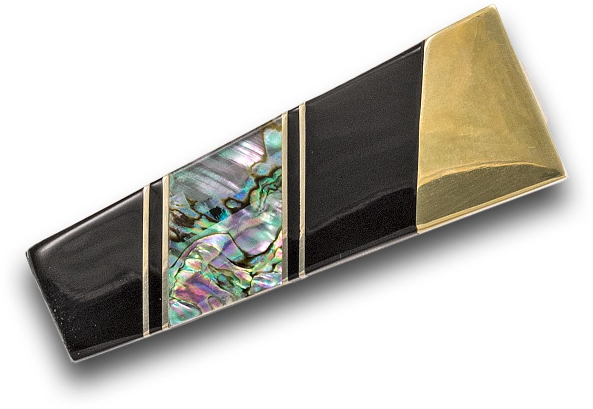 Santa Fe Stoneworks Nickle-Silver, Abalone with Black-Jet Inlay Money Clip