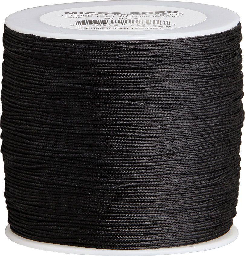 550 Micro Cord, Black, Nylon Braided, 1000 Feet x 1.12 mm