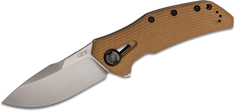 Zero Tolerance 0308 Flipper Knife 3.75 inch CPM-20CV Stonewashed Blade, Coyote Tan G10 and Titanium Handles