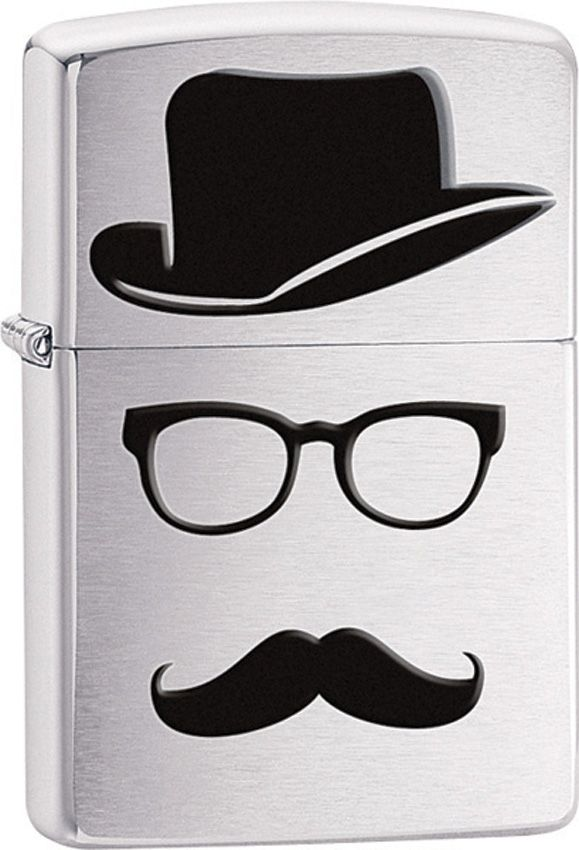 Zippo Moustache And Hat, Brushed Chrome Classic